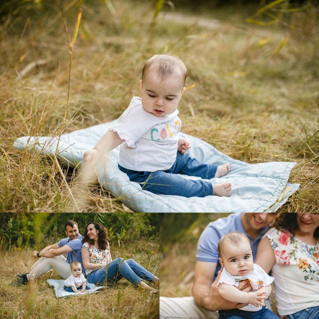 foto familia con bebé en exteriores